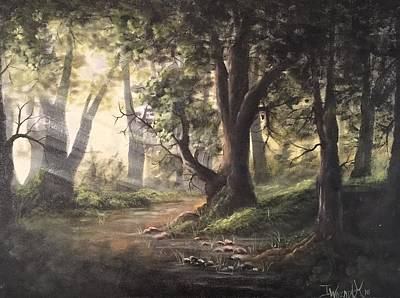 Painting - Deep Forest Rays  by Paintings by Justin Wozniak