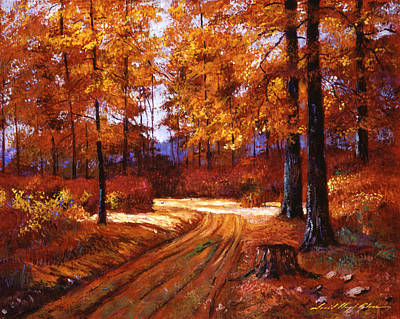 Vermont Landscape Painting - Deep Forest Road by David Lloyd Glover