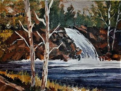 Painting - Deep Forest Waterfall by Al Brown