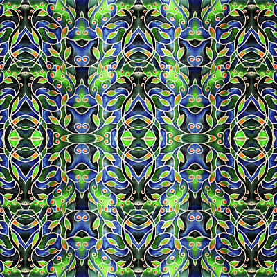 Painting - Deep Green And Blue Watercolor Pattern Batik Style by Irina Sztukowski