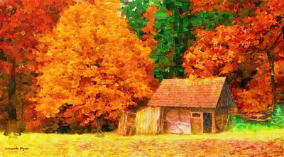 September Painting - Deep In Forest - Da by Leonardo Digenio