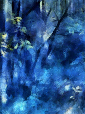 Mystical Landscape Painting - Deep In The Blue Forest by Menega Sabidussi