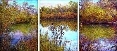 Digital Art - Deep Lake Reflections - Triptych by Joel Bruce Wallach