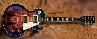 Digital Art - Deep Les Paul Guitar by WB Johnston