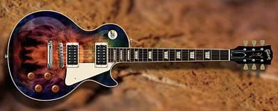 Digital Art - Deep Les Paul Guitar by WB Johnston
