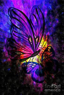 Digital Art - Deep Purple Butterflies by Maria Urso