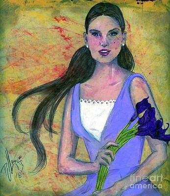 Drawing - Deep Purple Lilies by PJ Lewis
