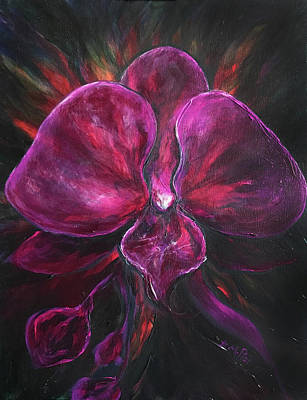 Painting - Deep Purple Orchid by Michelle Pier