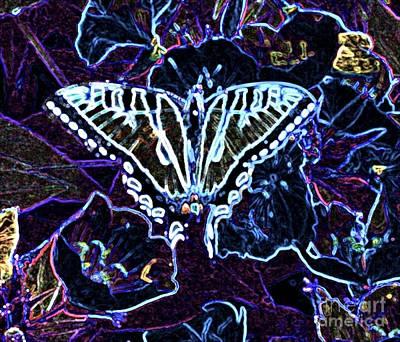 Blue Swallowtail Mixed Media - Deep Purple by Owl's View Studio