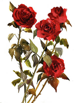 Weeding Painting - Deep Red Roses by Suren Nersisyan