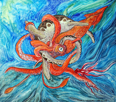 Giant Squid Painting - Deep Sea Battle by Dennis Naumick