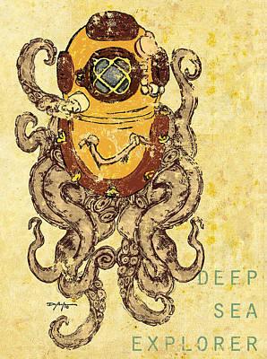 Diving Helmet Mixed Media - Deep Sea Explorer by William Depaula
