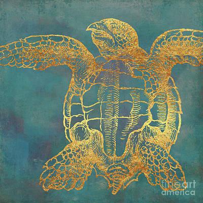 Ocean Turtle Painting - Deep Sea Life IIi Golden Sea Turtle, Ocean Texture by Tina Lavoie