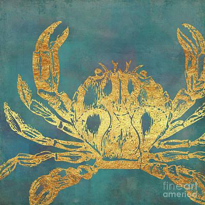 Ocean Turtle Painting - Deep Sea Life Vi Golden Crab, Ocean Texture by Tina Lavoie