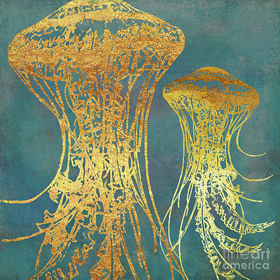 Jelly Fish Painting - Deep Sea Life Vi Golden Jellyfish, Ocean Texture by Tina Lavoie