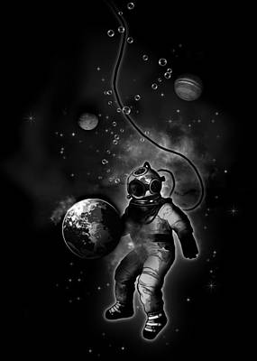 Space Mixed Media - Deep Sea Space Diver by Nicklas Gustafsson