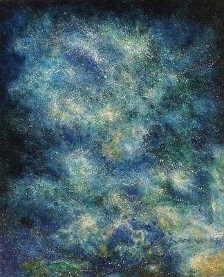 Deep Space Art Painting - Deep Space Blue/green # 2 by Adrienne Martino