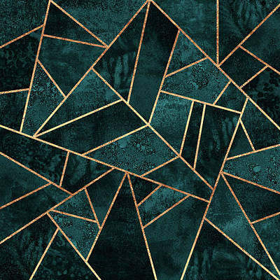 Mosaic Wall Art - Digital Art - Deep Teal Stone by Elisabeth Fredriksson