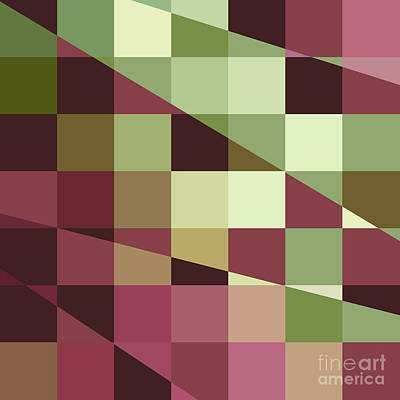 Tuscan Digital Art - Deep Tuscan Red Purple And Green Abstract Low Polygon Background by Aloysius Patrimonio