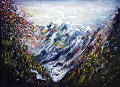 Painting - Deep Valleys Of Himalayas by Harsh Malik