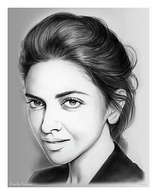 Drawings - Deepika Padukone by Greg Joens