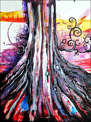 Tree Root Painting - Deeply Rooted II by Shadia Derbyshire
