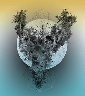 Abstract Nature Digital Art - Deer 2 by Bekim Art