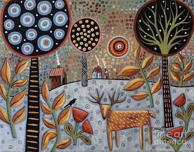 Folk Art Flowers Painting - Deer And Bird 1 by Karla Gerard