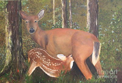 Painting - Deer And Fawn by Peggy Borel