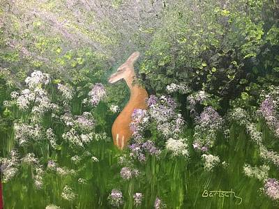 Painting - Deer And Wild Violets by David Bartsch