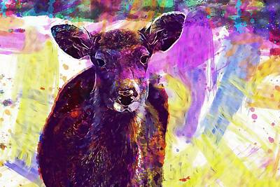 Nara Digital Art - Deer Animal Nara Deer Park  by PixBreak Art