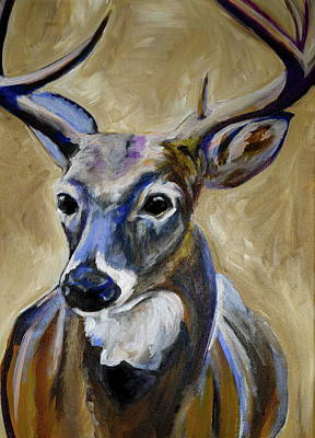 Acrylic On Wood Painting - Deer  by Anne Seay