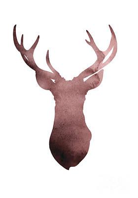 Deer Mixed Media - Deer Antlers Silhouette Minimalist Painting by Joanna Szmerdt