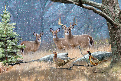 Cabin Wall Painting - Deer Art - First Snow by Dale Kunkel Art