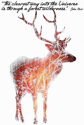 Deer Painting - Deer Art - Inspirational Motivational Quotes 2 - By Diana Van by Diana Van