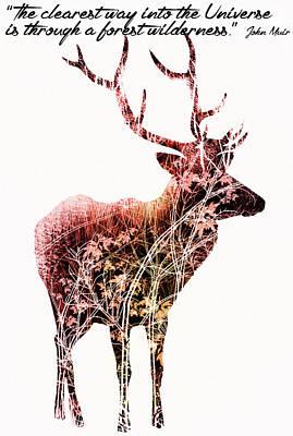 Deer Art - Inspirational Motivational Quotes - By Diana Van Art Print by Diana Van