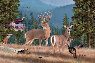 Whitetail Painting - Deer Art - Wilderness Whitetails by Dale Kunkel Art
