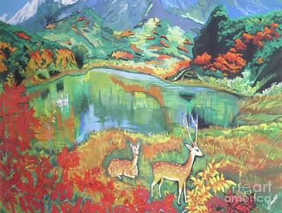 Axis Painting - Deer by Artist Nandika Dutt