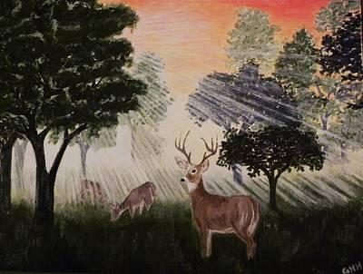 Deer At Dawn Art Print by G H Hisayasu