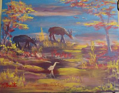 Deer At Dust Art Print by M Bhatt