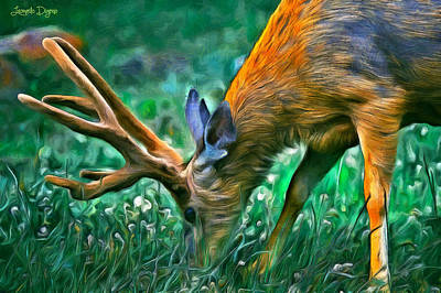 Pasture Digital Art - Deer At Lunch - Da by Leonardo Digenio