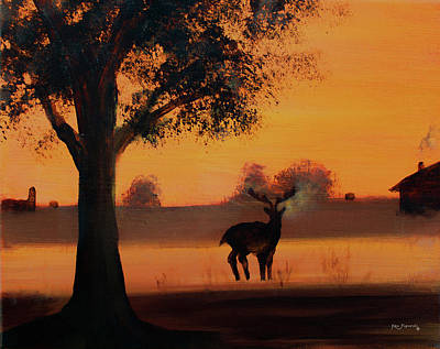 Painting - Deer At Sunset 2 by Ken Figurski