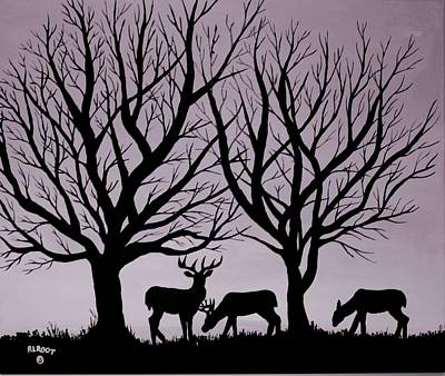 Painting - Deer At Sunset, Black And Gray by Ralph Root