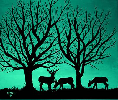 Painting - Deer At Sunset, Green by Ralph Root