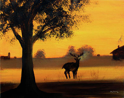 Painting - Deer At Sunset by Ken Figurski