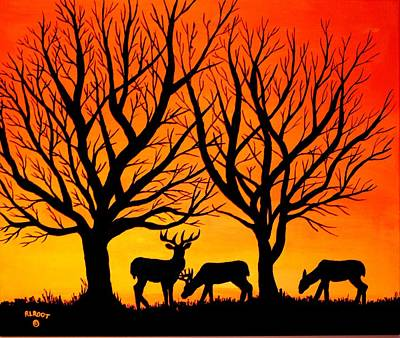 Painting - Deer At Sunset by Ralph Root