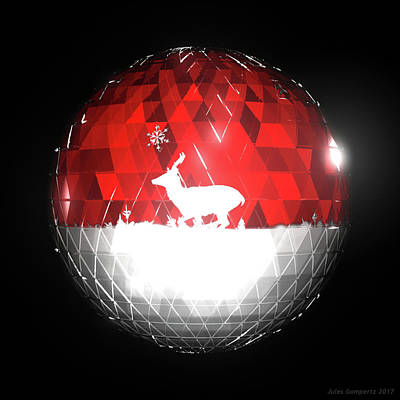 Geometric Digital Art - Deer Bauble - Frame 103 by Jules Gompertz