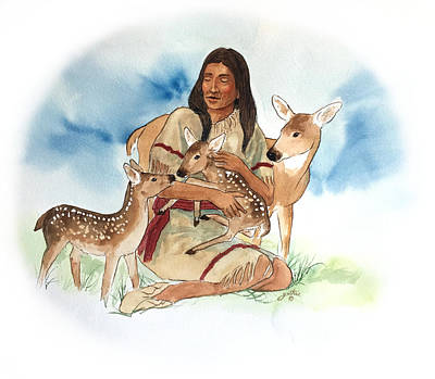 Painting - Deer Clan Mother by John Guthrie