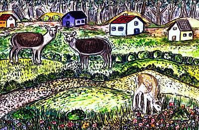 Folkart Mixed Media - Deer Country by Monica Engeler