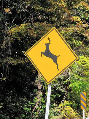 Yield Painting - Deer Crossing Sign 2 by Lanjee Chee